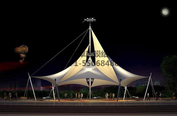 景观膜结构飞燕夜间灯光效果图