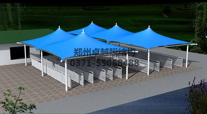 售票厅膜结构遮阳棚设计效果图