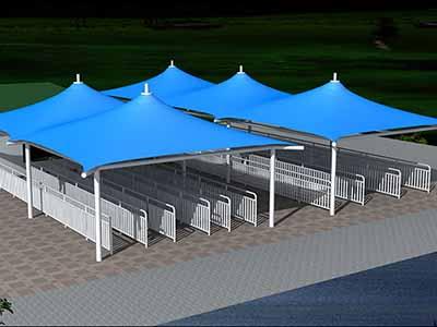 售票厅膜结构遮阳篷/雨棚