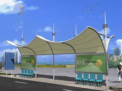 公交站台膜结构雨棚|遮阳篷
