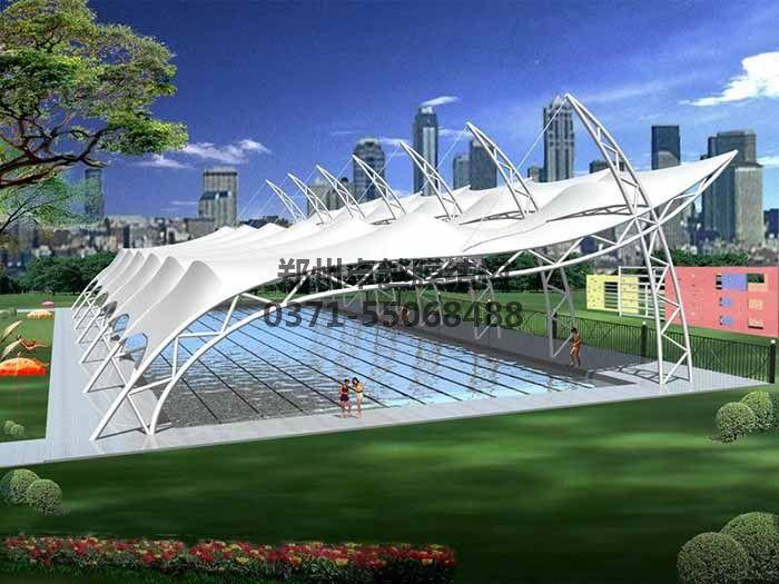 游泳池膜结构遮阳棚设计效果图二