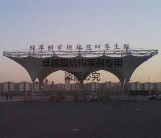 宁夏银川四季海鲜市场大门膜结构雨棚