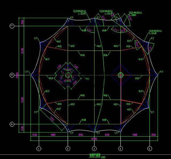 新郑中兴广场膜结构景观设计结构平面图