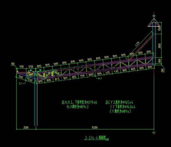 新郑中兴广场膜结构景观设计剖面图