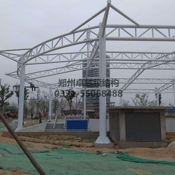新郑中兴广场膜结构景观钢结构细节