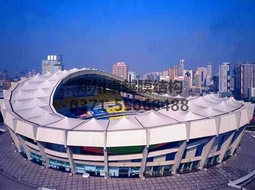 上海八万人体育场看台膜结构罩棚全景