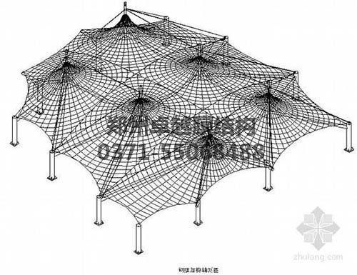 设计图中可以看出索膜结构一般由膜材、索结构、支架结构三部分组成