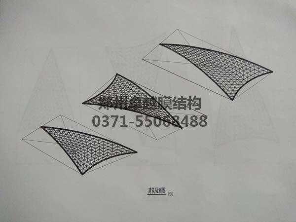 商丘柒悦城商场膜结构屋顶建筑轴测图