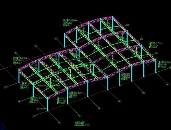 邵阳市新邵县法治广场门球场膜结构罩棚/顶棚结构轴测图
