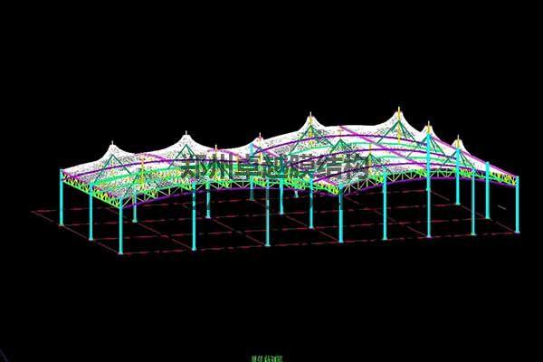 邵阳市新邵县法治广场门球场膜结构罩棚/顶棚建筑轴测图