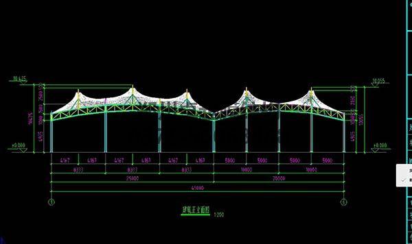 邵阳市新邵县法治广场门球场膜结构罩棚/顶棚建筑正立面图