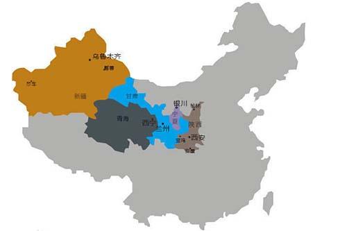 西北地区区位图(地图尺寸有限我国海南未标注)