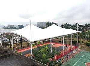篮球场膜结构顶棚/罩棚/雨棚的优势有哪些?(图文)