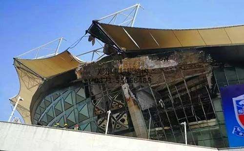 虹口足球场火灾后照片