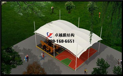 嘉峪关膜结构门球场网球场篮球场(炫飞篮球训练营)设计施工安装案例