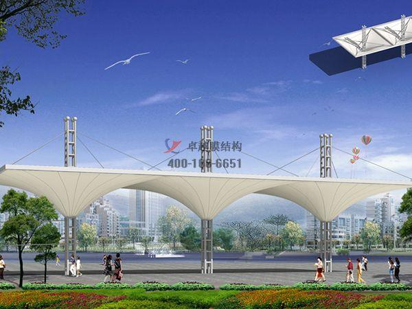 金昌商业街膜结构遮阳棚设计案例